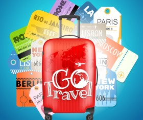 Travel trunk with air tickets vector