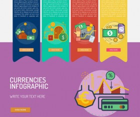 Vector Infographic currencies template material 03