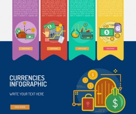 Vector Infographic currencies template material 04