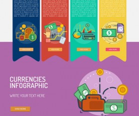 Vector Infographic currencies template material 05