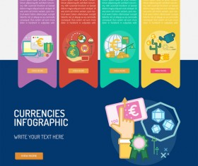Vector Infographic currencies template material 06