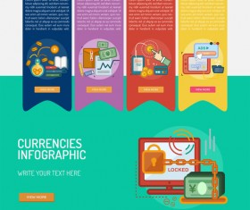 Vector Infographic currencies template material 07