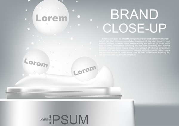 Vector cosmetic ads close up opened cream with small bubbles poster template
