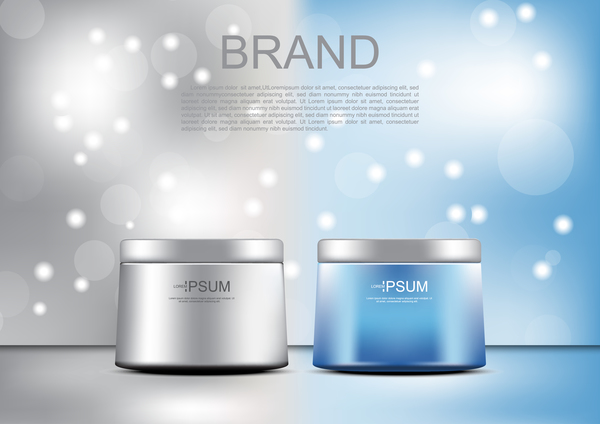 Vector cosmetic ads lifting and firming cream with template on gray and blue background