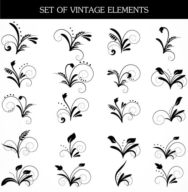 Vintage elements ornaments vector set
