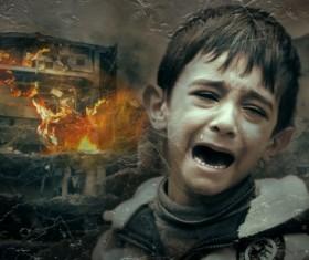 War crying child Stock Photo