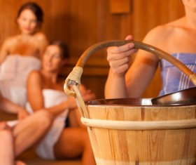 Wash the people of the sauna Stock Photo