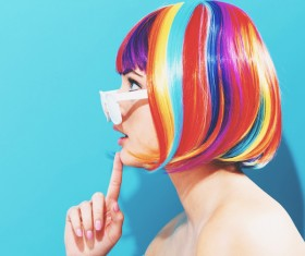 Wearing a colorful wig naughty girl Stock Photo 01