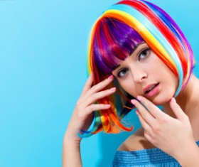 Wearing a colorful wig naughty girl Stock Photo 02