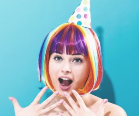 Wearing a colorful wig naughty girl Stock Photo 03