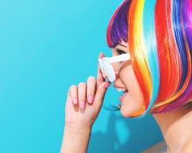 Wearing a colorful wig naughty girl Stock Photo 04