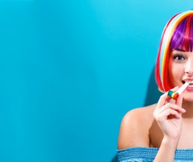 Wearing a colorful wig naughty girl Stock Photo 05