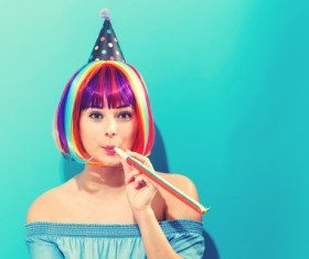 Wearing a colorful wig naughty girl Stock Photo 07