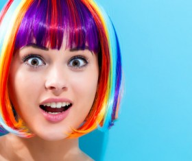 Wearing a colorful wig naughty girl Stock Photo 08