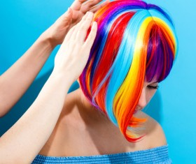 Wearing a colorful wig naughty girl Stock Photo 09
