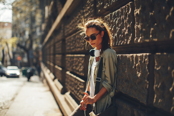 Wearing headphones listening to music young girl Stock Photo 07