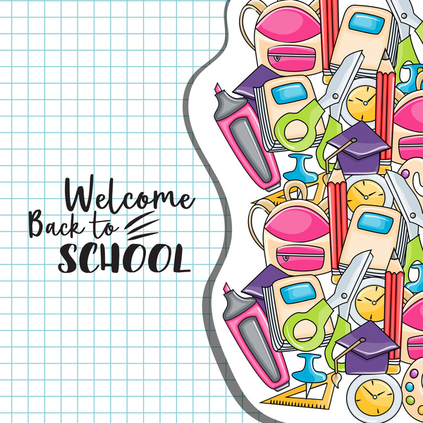 Welcome back to school background vector 02