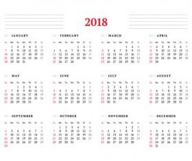 White 2018 calendar template vector
