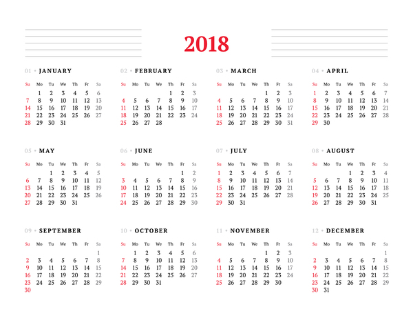 White 2018 Calendar Template Vector Free Download