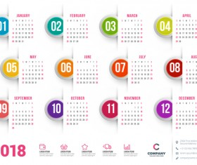 White 2018 calendar with round button vector