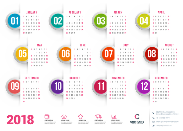 White 2018 calendar with round button vector - Vector Calendar ...