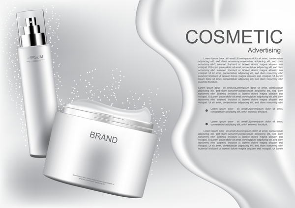 White cosmetic products poster template vector