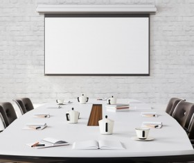 White office space meeting room table Stock Photo 01