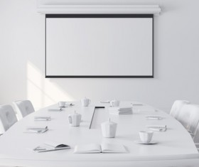 White office space meeting room table Stock Photo 03