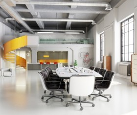 White office space meeting room table Stock Photo 05