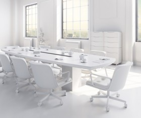 White office space meeting room table Stock Photo 12