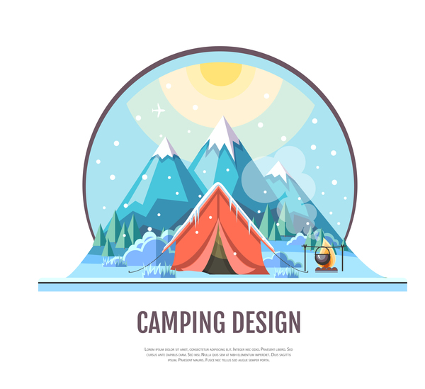 Winter camping tent background vector design 01