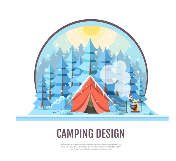 Winter camping tent background vector design 02