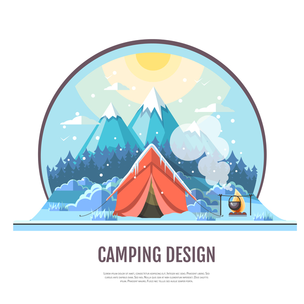 Winter camping tent background vector design 03