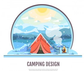 Winter camping tent background vector design 04
