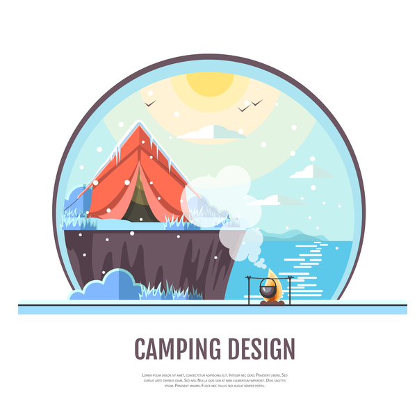 Winter camping tent background vector design 05