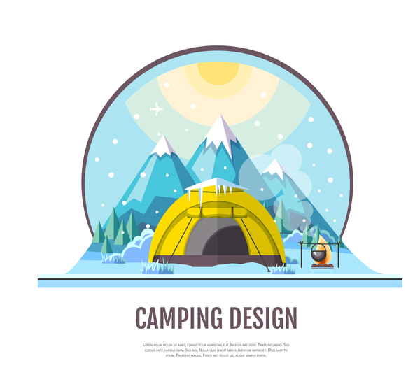 Winter camping tent background vector design 06