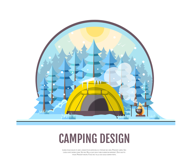 Winter camping tent background vector design 07
