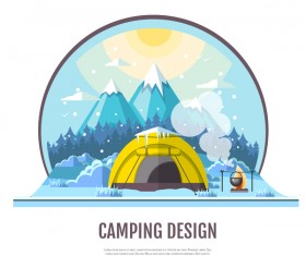 Winter camping tent background vector design 08