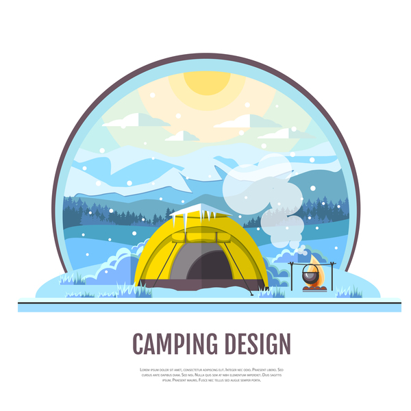 Winter camping tent background vector design 09