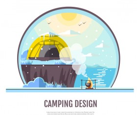 Winter camping tent background vector design 10