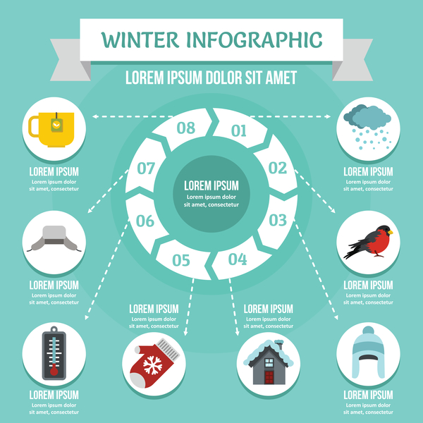 Winter infographic design vector