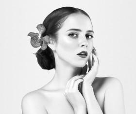 Woman Black and White Portrait Stock Photo 03