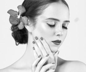 Woman Black and White Portrait Stock Photo 08