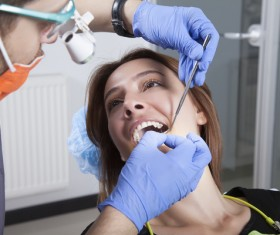 Woman doing dental care Stock Photo 02
