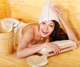 Woman enjoying sauna Stock Photo 04