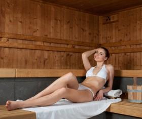 Woman enjoying sauna Stock Photo 05