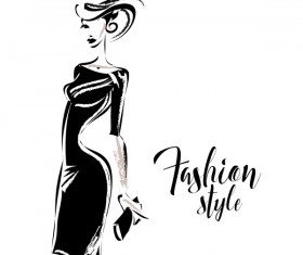 Woman fashion styles illustration vector material 05