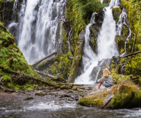 Women admire Falls Stock Photo