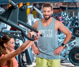 Workout in the gym for men and women Stock Photo 07