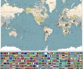 World maps with world flags vector